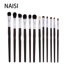 NAISI 12PCS Eye make up brush set eyeshadow eyebrow blending brushes for makeup goat horse synthetic hair makeup brushes tools free shipping 2013 new arrival 12pcs natural goat hair purple makeup brushes sets with free pu leather cylinder dropship
