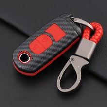 Carbon Fiber Silicone Remote Key Case Shell Cover For Mazda CX-5 CX5 Atenza CX-7 CX-9 MX5 Cover Skin Holder 2 Button Waterproof