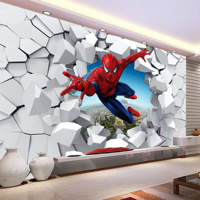 spiderman papier peint personnalis 3d photo papier peint super hero papier peint gar ons. Black Bedroom Furniture Sets. Home Design Ideas