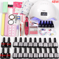 Все для маникюрного набора гель-лака электрическая машинка для обработки ногтей маникюрный набор 36 Вт/48 Вт/80 Вт лампа для ногтей ногти гель ...