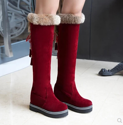 Spring And Autumn Winter Women 's Boots Casual Fashion Thick Knee - Length Boots Inside The High Flat Snow Boots Stovepipe