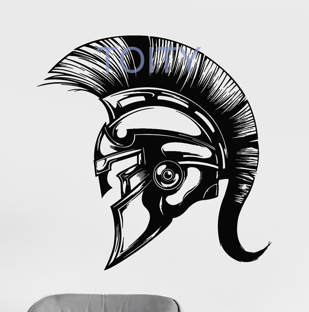 Spartan Helmet Warrior Wall Sticker Ancient Greece Vinyl Decal Dorm Club Home Interior Decor Art Mural