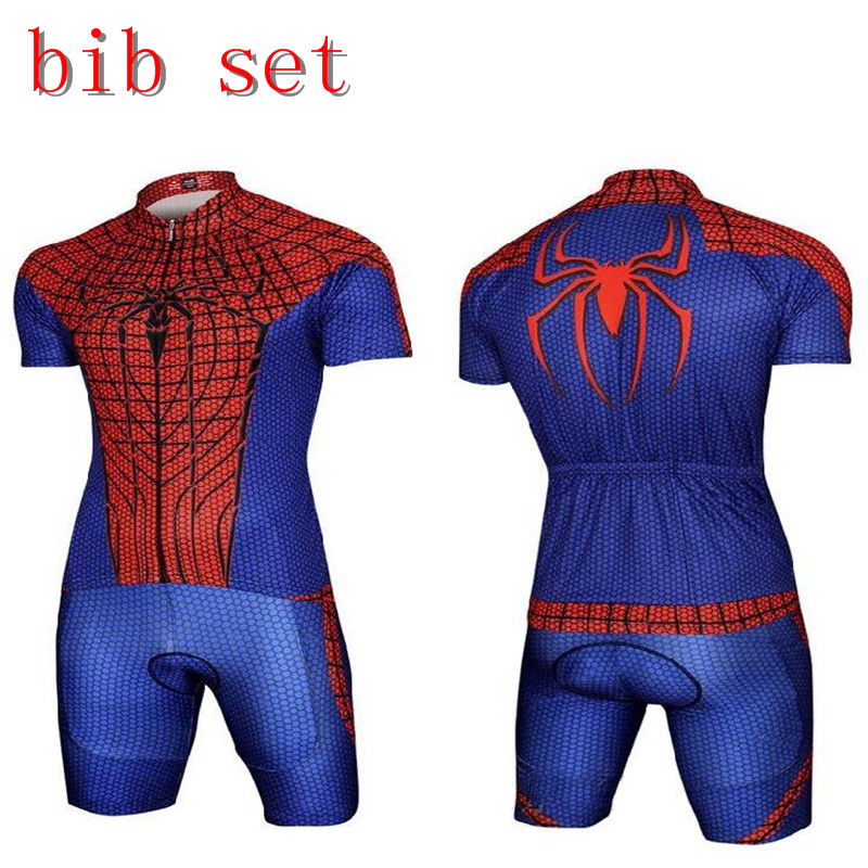 Cool Superhero Cycling Wear Iron Man Batman Superman Captain America Spider-Man Cycling Jersey bike clothing cycling uniform set