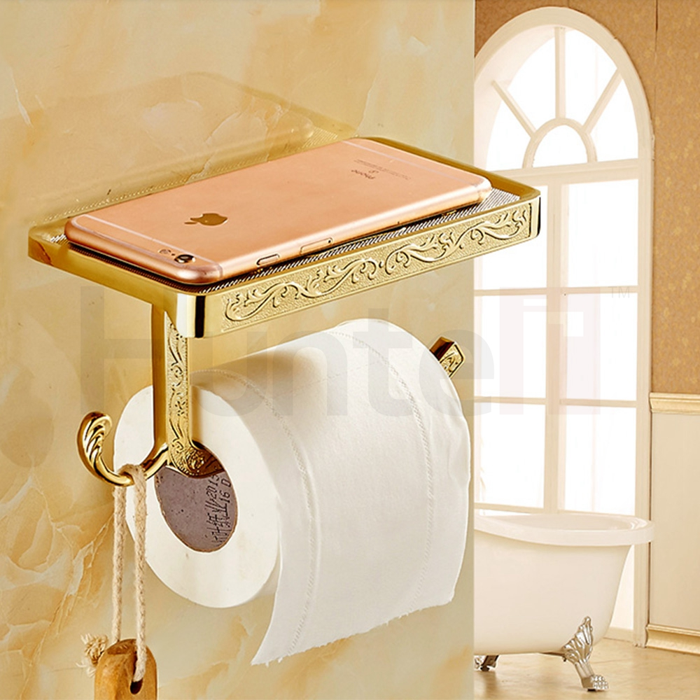 Gloden White Antique Brass Finish Solid zinc alloy toilet paper ...