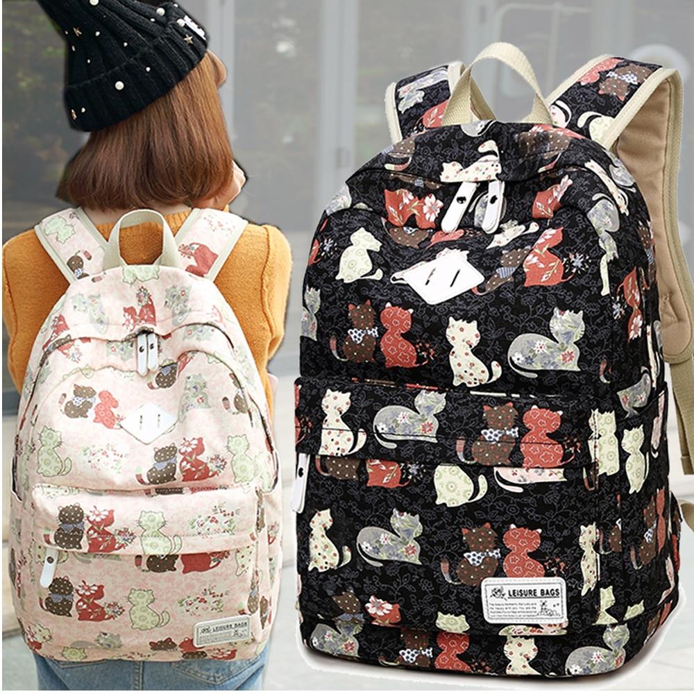 Backpack Girl Junior School Student School bag Wemen Korean Style Simple Canvas Backpack Preppy Style BF