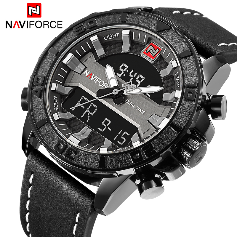 NAVIFORCE Men Sport Watches Luxury Brand Men's Quartz LED Analog Clock Man Military Waterproof Wrist watch Relogio Masculino top luxury brand naviforce men sport watches men s quartz led analog clock man military waterproof wrist watch relogio masculino