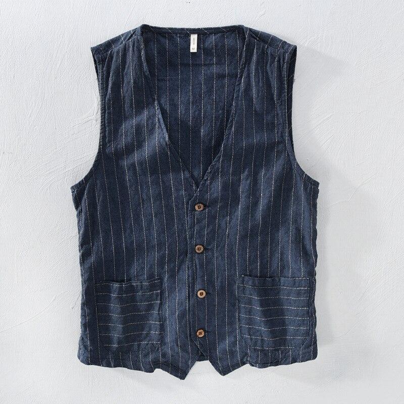 Mans Vintage Linen Suit Vest Slim Material 55%linen + 45%cotton Vest Male Casual Striped Thin Waistcoat Vest Asian Size M-3XL
