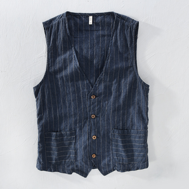 Mans Vintage Linen Suit Vest Slim Material 55%linen + 45%cotton Vest Male Casual Striped Thin Waistcoat Vest Asian Size M-3XL