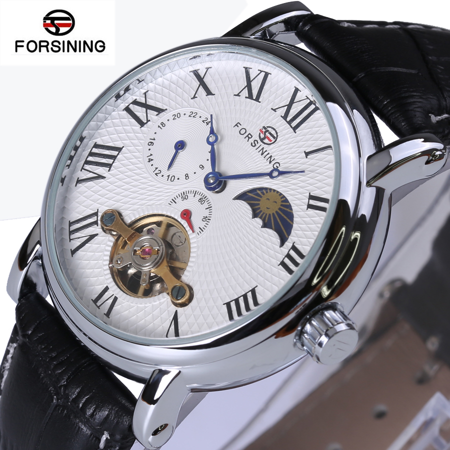 Forsining2018 Fashion Casual New Luxury Roman Numeral Dail With Tourbillon Men's Watch Wristwatch Moon Phase Display Skeleton Wa forsining2018 fashion casual new luxury roman numeral dail with tourbillon men s watch wristwatch moon phase display skeleton wa