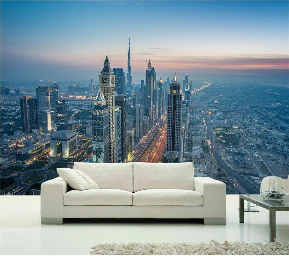 3d wallpaper custom photo mural living room Dubai city skyline 3d painting TV sofa background non-woven wallpaper for walls 3d 3d wallpaper custom mural non woven wall sticker 3d flowers and blue sky and white cloud ceiling murals wallpaper for walls 3d