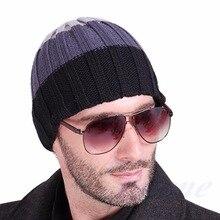 Женская мода мужская Шляпа Унисекс Теплая Зима Вязаная Шапка Хип-Хоп Шапочки Шляпы Black-J117
