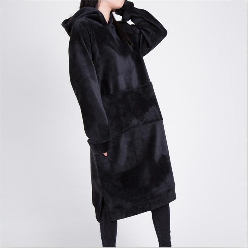 Survêtement Capuche 2018 Noir Femmes Streetwear De Chaud Longues Mode Épaissir Rose Polaire Sweat À Robe Dames Hiver Velours 5jSc3RLq4A
