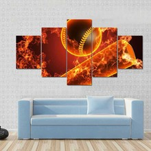 Home Decoration Living Room Wall Framework 5 Panel Baseball Pole And Ball Art Painting Modular HD Canvas Printed Poster Pictures