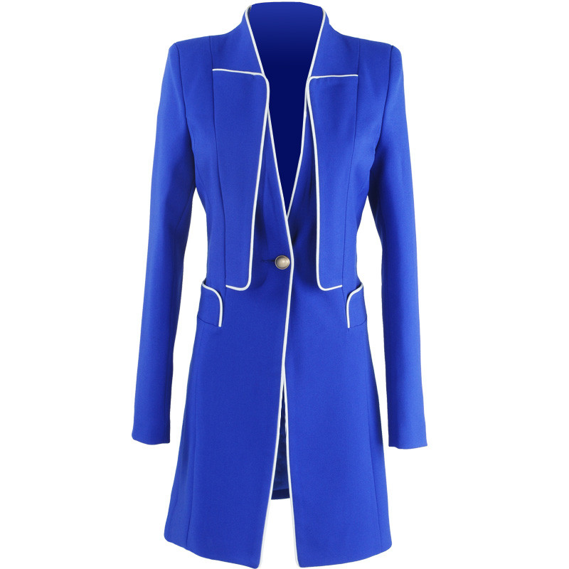 C3008 Slim Abrigos Mujeres Elegante Blazer Primavera Mujer Royal Traje Feminino Una Blue black Chaquetas Otoño Chaqueta Hebilla CqAqOw4