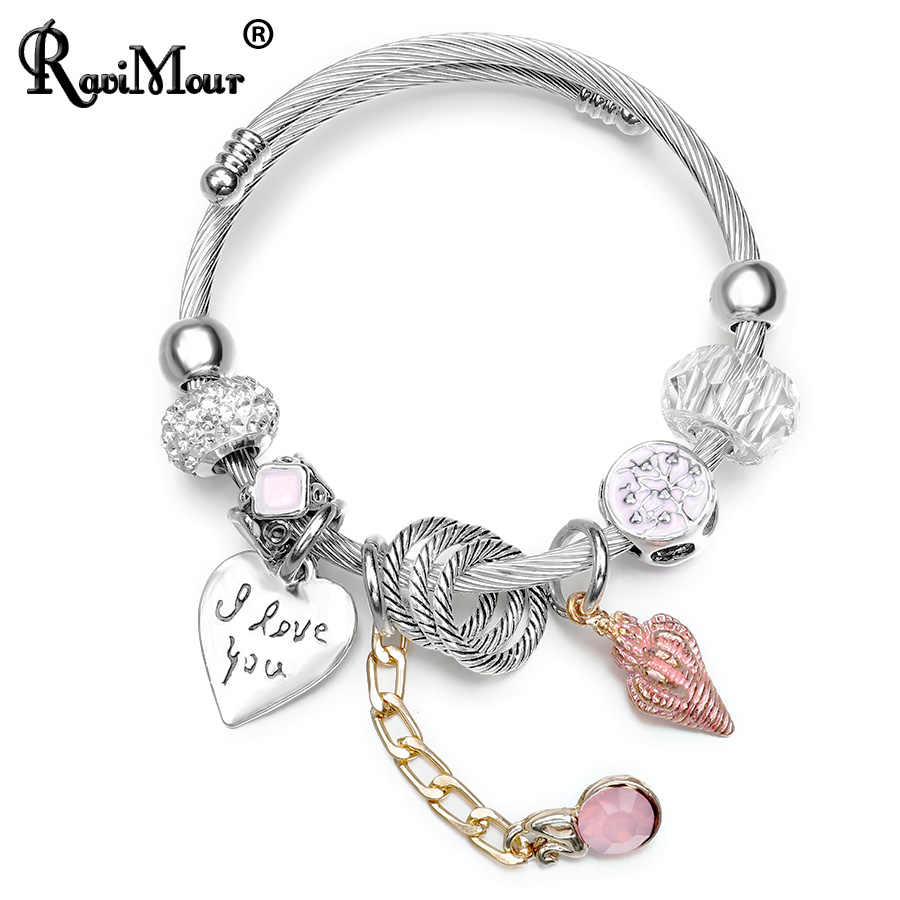 RAVIMOUR Steampunk Love Bangles Bracelets Jewelry Sea Shell Charms Cuff Bracelet Femme Fashion Steel Wire Chain Jewelry 2018 New