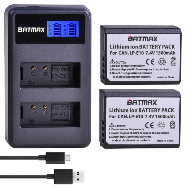 2x1500mAh LP E10 LPE10 LP E10 كاميرا بطارية Bateria + LCD شاحن USB مزدوج لكانون 1100D 1200D 1300D المتمردين T3 T5 قبلة X50 X70