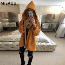 MISAUU Fleece Faux Shearling Fur Hooded Jacket Coat Women Autumn Winter Plush Warm Thick teddy coat female overcoat plus size недорого