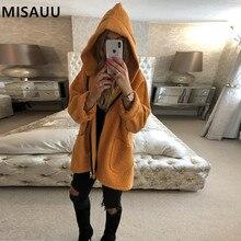 MISAUU Fleece Faux Shearling Fur Hooded Jacket Coat Women Autumn Winter Plush Warm Thick teddy coat female overcoat plus size