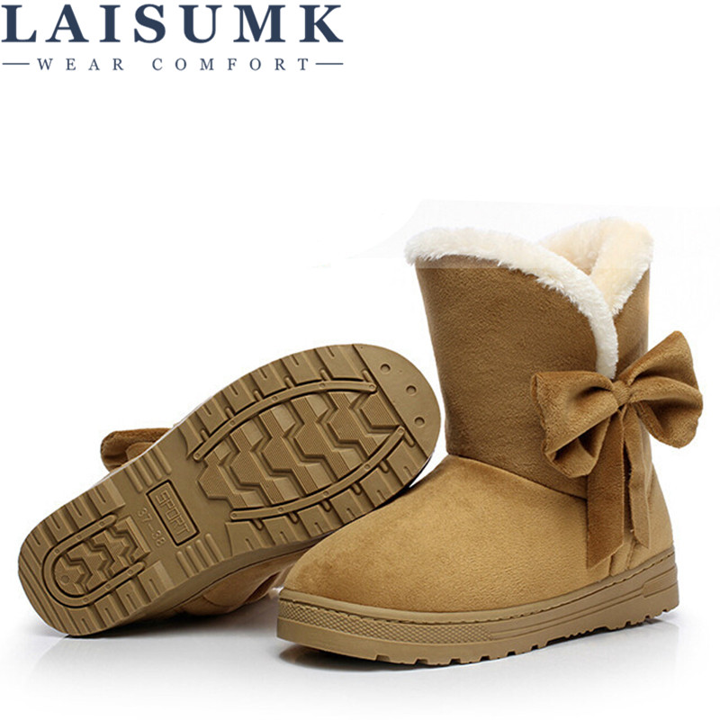 2019 LAISUMK New Arrival Hot Sale Women Boots Solid Bowtie Slip On Soft Cute Women Snow Boots Round Toe Flat With Winter Shoes in Ankle Boots from Shoes
