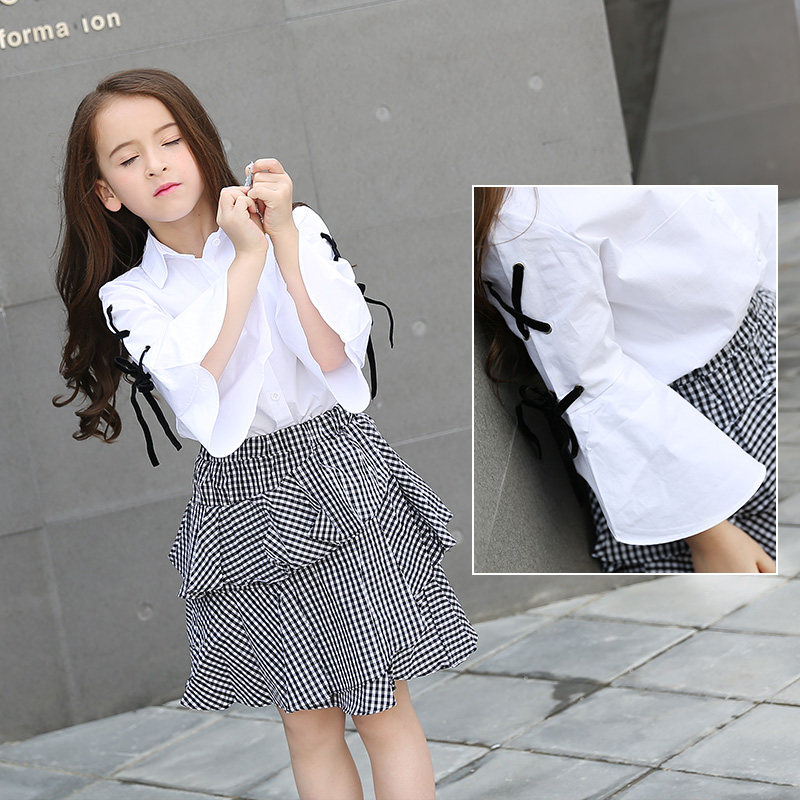 Teen Girl Set 2018 White Kids Suits 10 12 14 16 5 Years 100% Cotton Spring Autumn Girls Clothing Set Striped Flare Sleeve 2pcs girls autumn kids dress cotton striped long sleeve birthday party dresses fashion style teen girls clothing 12 14 years children