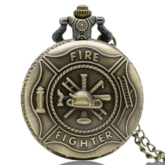 Cool Fire Fighter Theme 3D Bronze Fob Quartz Pocket Watches with Necklace Chain