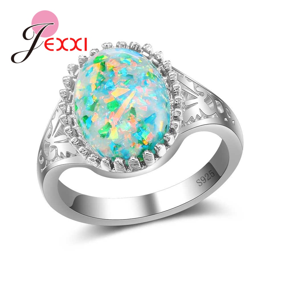 Https Item 32852189556html Ae01alicdn Ring Flat Baja M8 Jexxi Fashion Popular Trendy 925 Sterling Silver Rings For Women Pretty Party Accessories With Colourful Opal