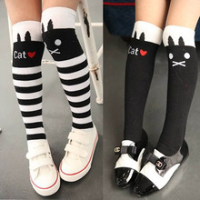 1-8Y Mädchen High Striped Over Kniestrümpfe Cute Cat / Stripe Long Tube Socken