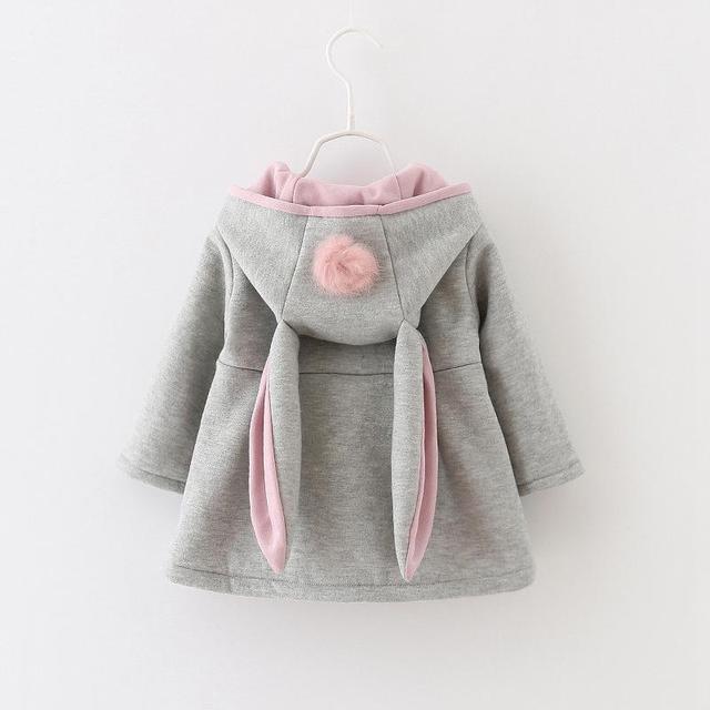 Otoño Invierno de los Bebés Bebés Niños Bola Linda Con Capucha de Conejo Princesa Chaqueta Abrigos Outwears Regalos de Navidad Roupas Casaco