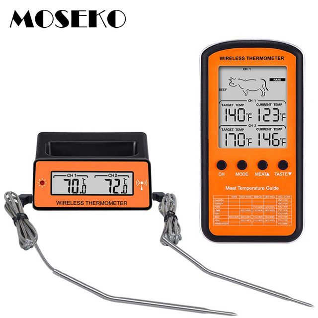 MOSEKO Dual Probe Digital Wireless Oven Thermometer For Meat Water Food  Barbecue BBQ Cooking Kitchen Timer