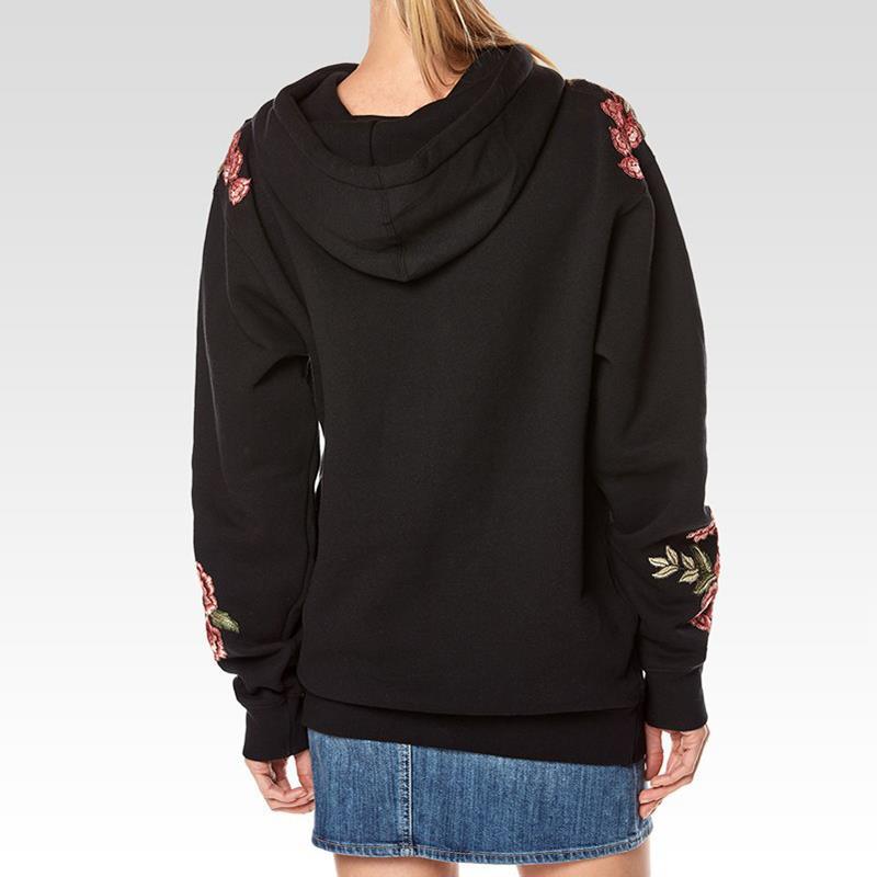 Women Hoodies Autumn Winter Hoodie Pocket Fashion Floral Embroidery Rose Harajuku Sweatshirt WS4225V