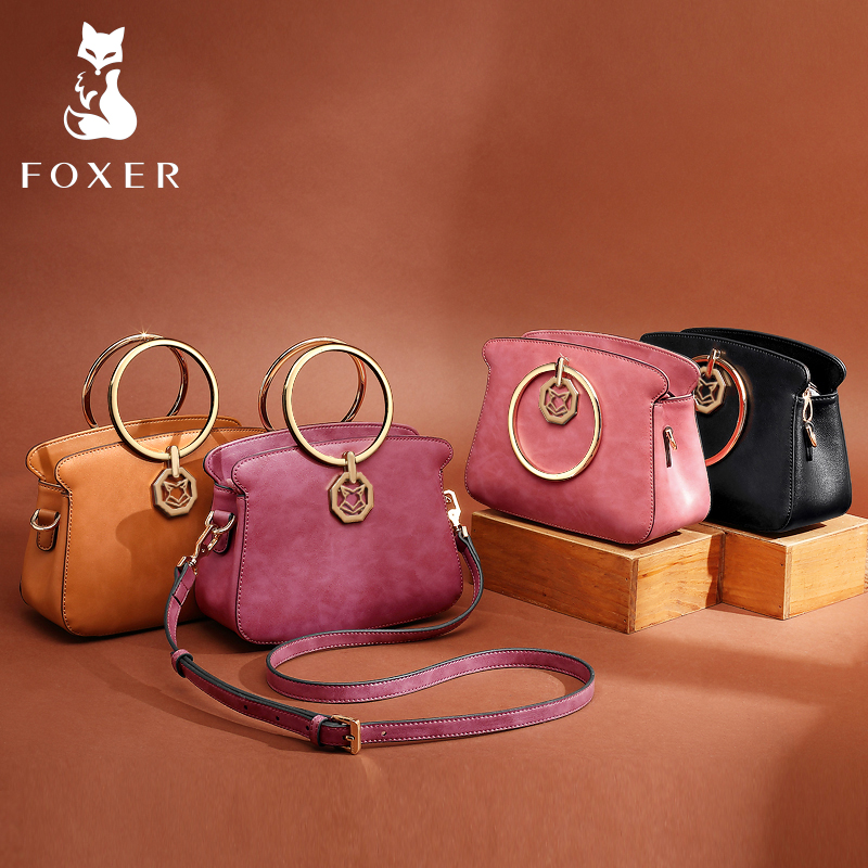 FOXER Brands Leather Women Handbags Luxury Totes New Design Women Bag Fashion Lady Messenger Bags Shoulder Bag For Female fashion leather handbags luxury head layer cowhide leather handbags women shoulder messenger bags bucket bag lady new style