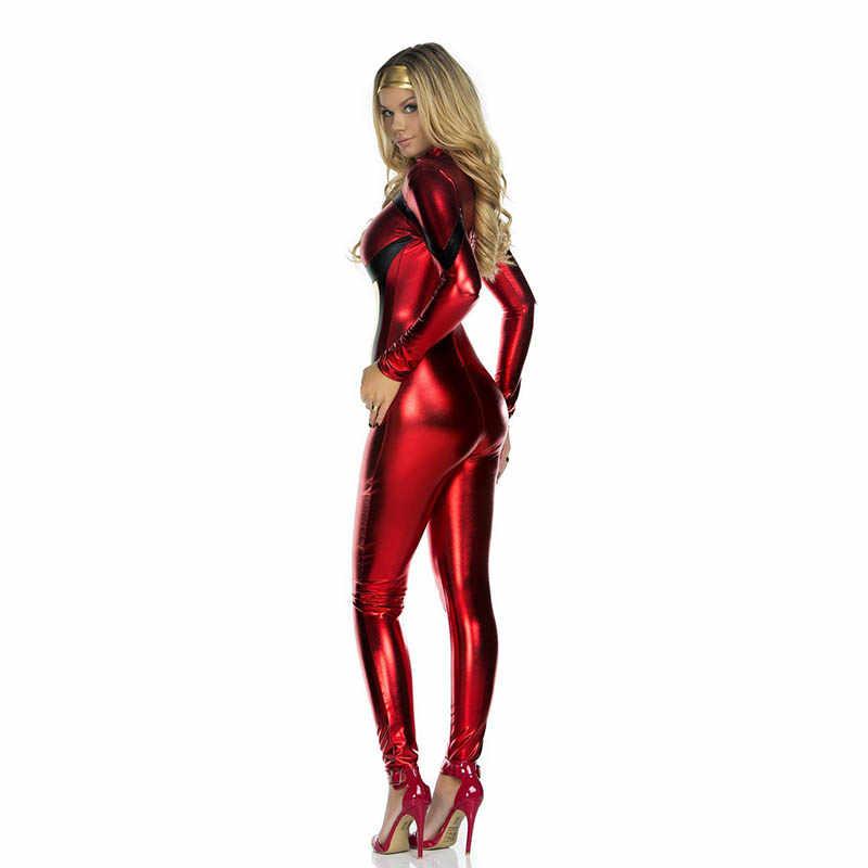 71cdfb394aa ... Wholesale Sexy Halloween Superhero Costume Red Fashion Christmas Costume  Hero Latex Catsuit