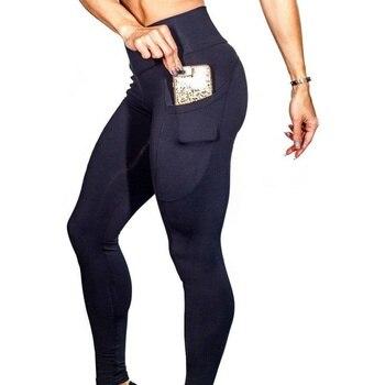 Super elástico Fitness las mujeres Leggings bolsillo sólido de alta energía  sin Control de la panza pantalones Leggings cintura alta S-XL H9 7a49140bcab4