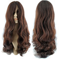 New 60cm Synthetic Hair Dark Brown Curly Daily Hair Wigs For Women Lady With Free Cap