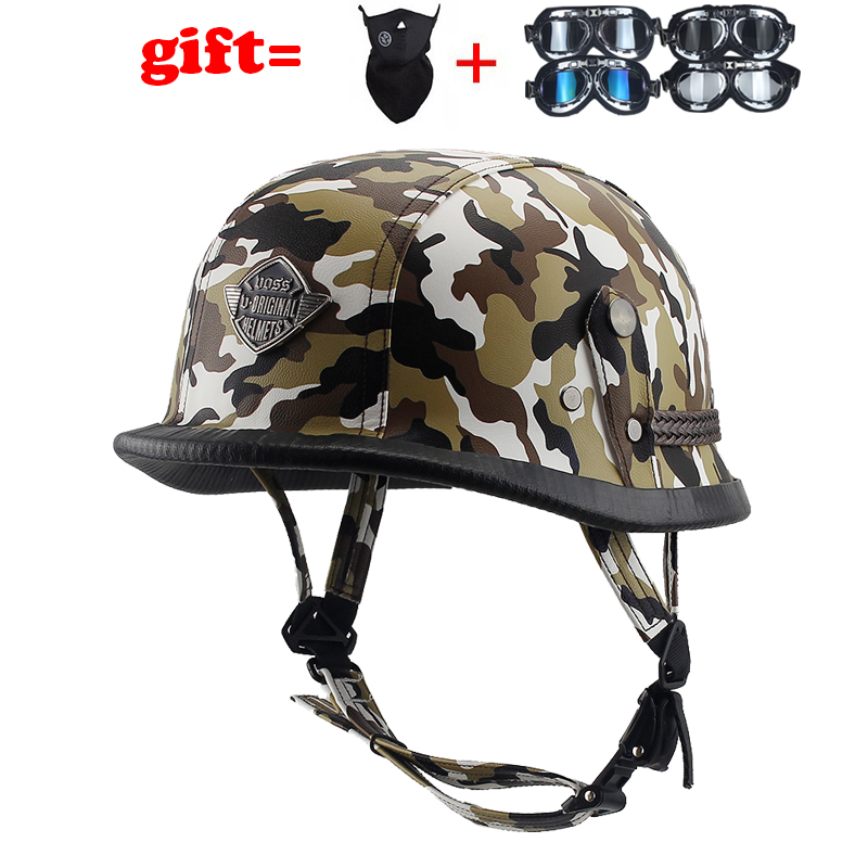 high quality WWII German Style Vintage Motorcycle Helmet with Goggles Black Leather Sponge Half Helmet+Goggles for Pilot