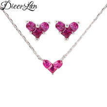 DIEERLAN 2019 Dubai Rhinestone Sets Jewelry for Women 925 Sterling Silver Red Heart Choker Necklaces Earrings Pendientes Brincos(China)