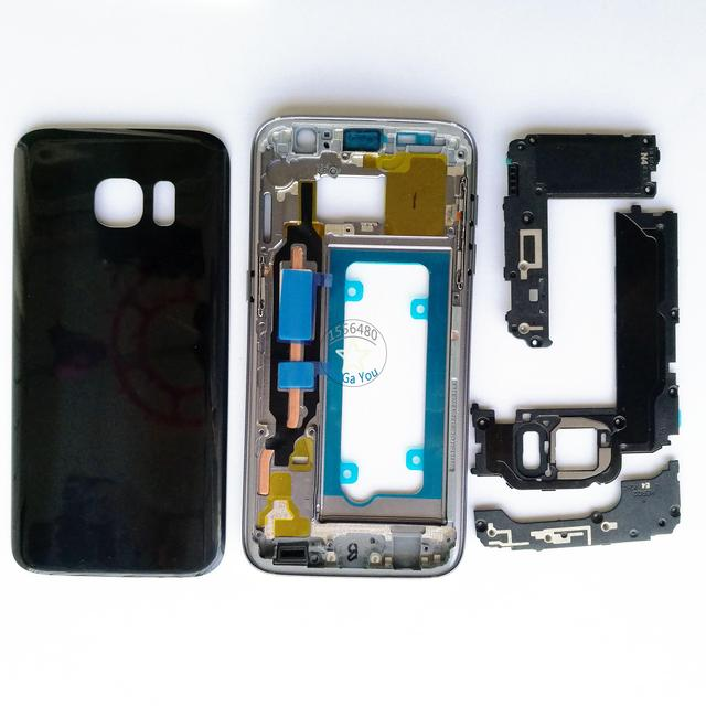 Original New Full Housing Cover Case For Samsung Galaxy S7, S7 Edge Front Frame+Middle Frame+Battery Cover+Loudspeaker+Shelf