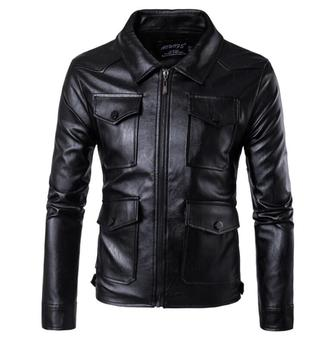 Lapel multi-pocket motorcycle leather jacket men casual long sleeve clothes mens leather jackets pu short coats biker black