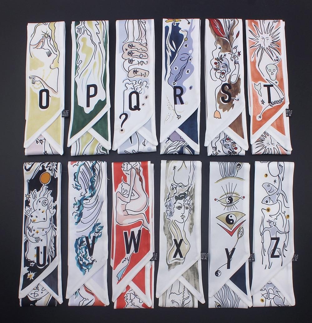 2019 Luxury New Design 26 Letters Women Silk Scarf Bag Skinny Constellation Print Fashion Head Scarf Brand Small Tie