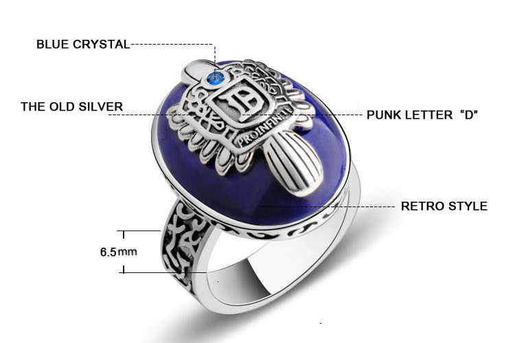 Anillos Jewelry Vintage The Vampire Diaries Ring Salvatore Damon Stefan's Punk Rings For Men Lapis Lazuli Moives Us