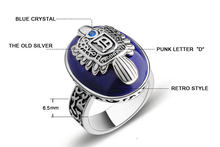 Anillos Jewelry Vintage The Vampire Diaries Ring Salvatore Damon Stefan's Punk Rings For Men Lapis Lazuli Moives Us(China)
