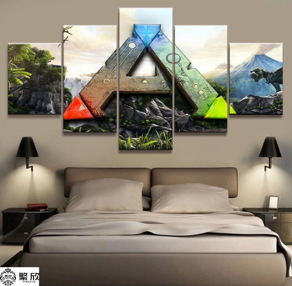 5 Panel Ark Survival Evolved Logo Game Canvas Printed Painting For Living Room Wall Art Decor Hd Picture Artworks Poster Prints Painting Canvas Printshd Pictures Aliexpress