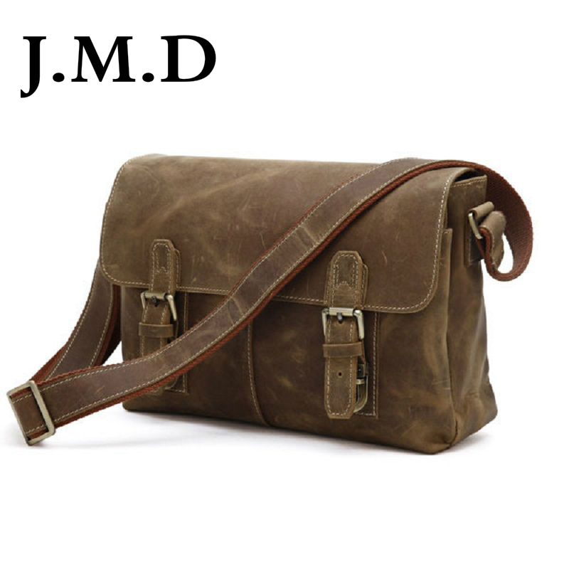 J M D 100 Men s Fashion Leather Bag Crazy Horse Leather Cross Body Briefcase Sling