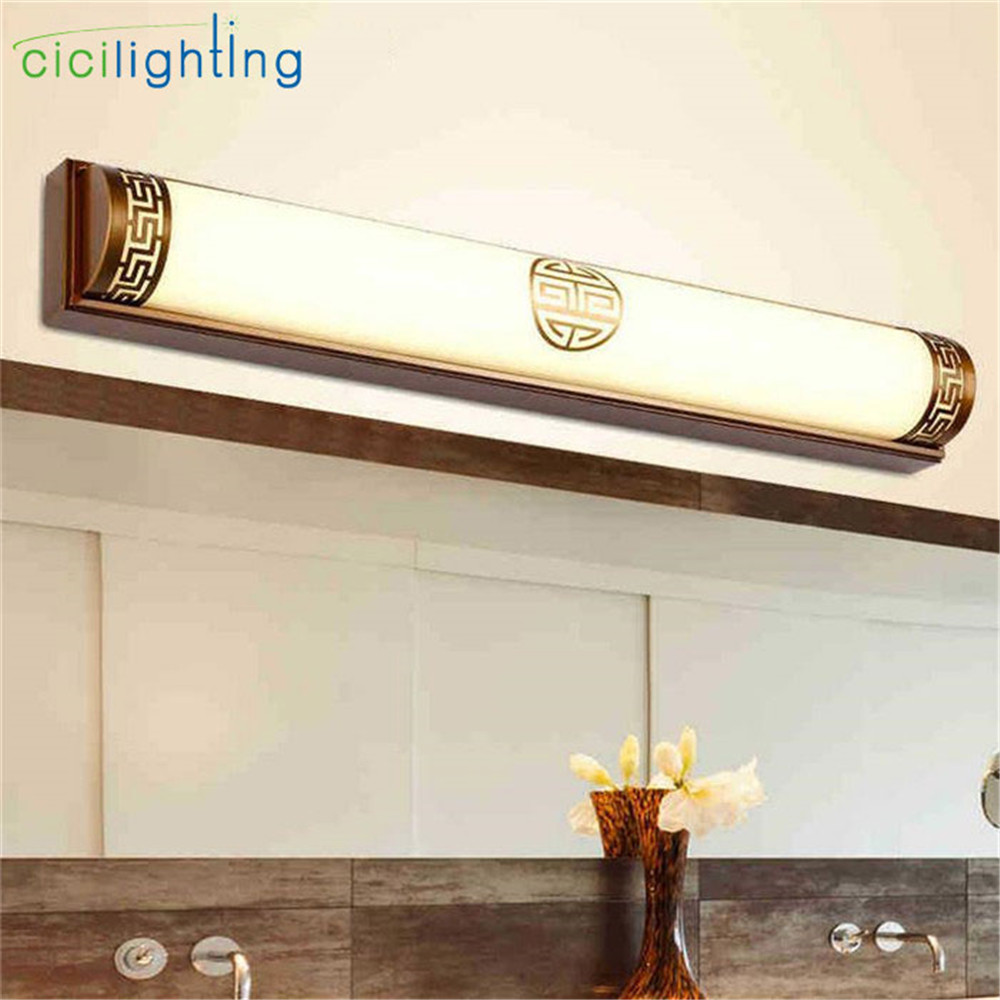 L48cm L63cm L83cm Chinese led mirror  lamps retro lighting lamps bathroom wall lamp bronze black European make-up Cosmetic light