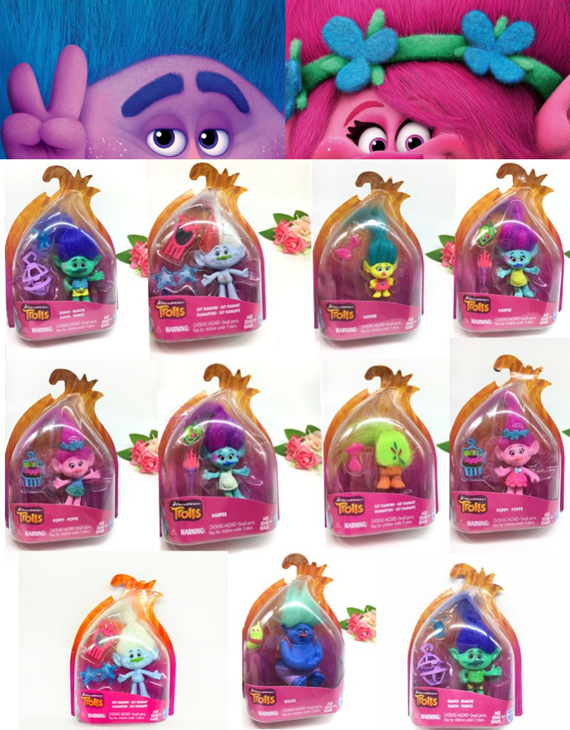 New Cute 11 Pcsset Troll Dolls Elf Princess Poppy Branch Action Figure Kawail Trolls Magic Long Hair Doll Toy For Children Gift