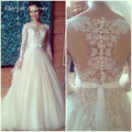 Free Shipping High Quality Appliques Pattern Beaded Sheer Top Neck Puffy Lace With Long Sleeves Wedding Dress Bridal Gown HS318