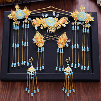 JaneVini Vintage Hair Jewellery Chinese Traditional Gold Blue Bridal Wedding Hair Pins Earrings Pageant Headdress Headband 2018