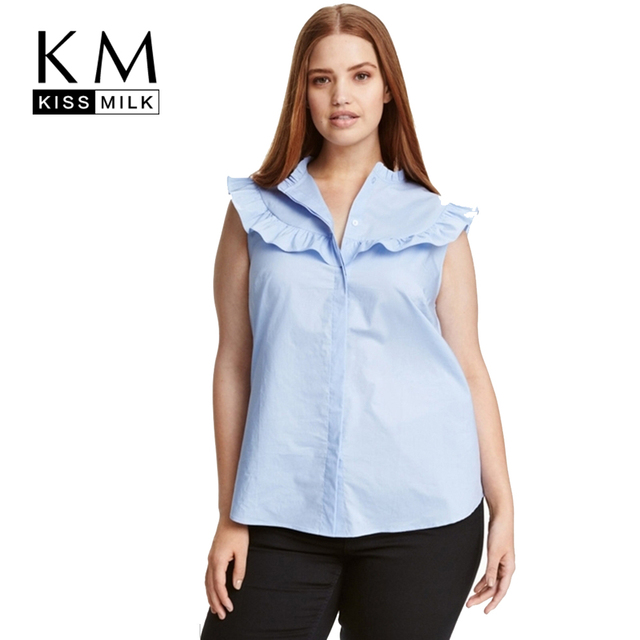 c2d51148243 Kissmilk Plus Size Women Clothing Casual Solid Sleeveless Blouse Loose Fold  Ruffled Ladies Blouse Big Size