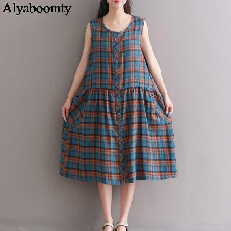 Японский Mori Girl Летний женский клетчатый сарафан хлопчатобумажное белье без рукавов Mujer Ropa элегантная повседневная свободная винтажная рубашка милое платье
