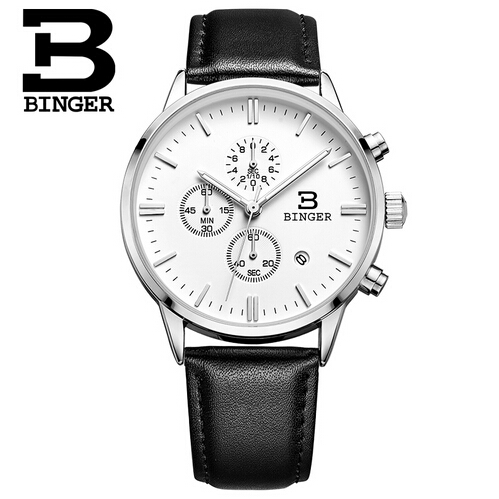 Binger Men Watch Men's Casual Brand Sport Watches Quartz Waterproof Leather Chronograph Hour Clock Military Army Fashion Watch weide new men quartz casual watch army military sports watch waterproof back light men watches alarm clock multiple time zone